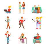 People Being Obsessed With Gadgets Set Of Illustrations. Modern Technology And Its Life Impact Set Of Simple Vector Illustrations vector illustration