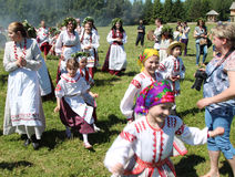 People in the Belarusian national ethnic clothes. Stock Photos