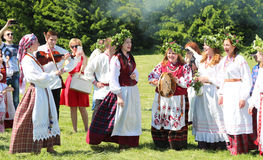 People in the Belarusian national ethnic clothes. Stock Images