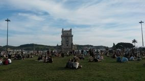People by Belem tower Stock Image