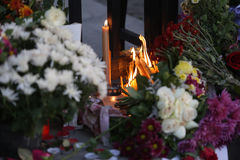 People in Belgrade Pay tribute to the victims in Paris Stock Image