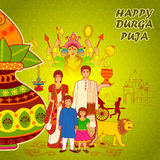 People of Bengal wishing Happy Durga Puja in Indian art style Stock Images