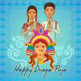 People of Bengal wishing Happy Durga Puja in Indian art style Stock Photography