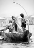 People in Benin, in black and white Royalty Free Stock Photo