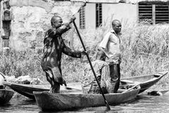 People in Benin, in black and white Stock Photo