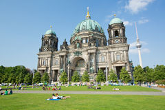 People and the Berlin Cathedral in Germany Stock Photography