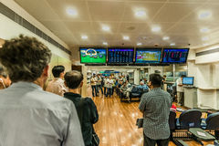 People betting horse races Happy Valley racecourse Hong Kong Stock Photography