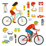 People on bicycles riders man and woman lifestyle cycling sport flat vector illustration. Royalty Free Stock Photos
