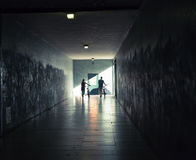 People with bicycles in the tunnel Royalty Free Stock Images