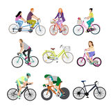 People on bicycles, white background. Royalty Free Stock Photos
