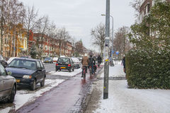People on bicycles in winter Stock Image