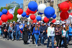 People with big balloons participate in demonstration in honor o. F the Victory Day on May 9, 2016. Tyumen, Russia Stock Photo
