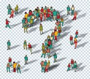 People big group question symbol isolate. Stock Photos