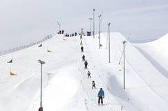 People on big slalom trace stock photos