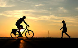 People with bike Stock Photography