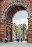 People on a bike tour in Barcelona. Spain Royalty Free Stock Images
