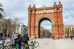 People on a bike tour in Barcelona. Spain Royalty Free Stock Photo