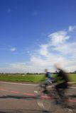 People with bikes on the Tempelhof Airport runway Royalty Free Stock Photography