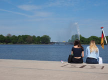 People at Binnenalster (Inner Alster lake) in Hamburg Stock Photo