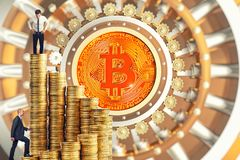 People and bitcoin. Business people go up on money stair with bitcoin vault door background stock photo