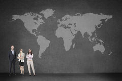 People on black with a map world Royalty Free Stock Images