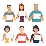 People with blank banner. Character of smiling people holding blank banner for your text or copyspace. Diverse, multi-ethnic, flat design character Stock Illustration