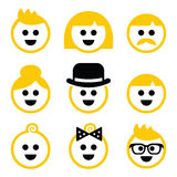 People with blond hair  icons set Stock Photos