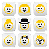 People with blond hair  icons set Stock Photo