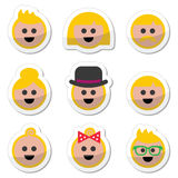 People with blond hair  icons set Stock Photography