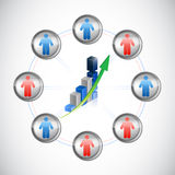 People and blue graph illustration design Stock Photography