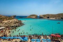 People at the Blue Lagoon in Comino Island - Gozo, Malta Stock Image