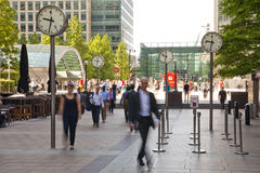 People blur. Office people moving fast to get to work at early morning in Canary Wharf aria Stock Photos