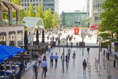 People blur. Office people moving fast to get to work at early morning in Canary Wharf aria Stock Images