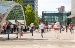 People blur. Office people moving fast to get to work at early morning in Canary Wharf aria Stock Photography