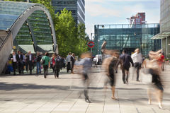 People blur. Office people moving fast to get to work at early morning in Canary Wharf aria Royalty Free Stock Images