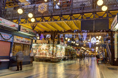 People blured in motion shopping in the Great Market Hall in Budapest Royalty Free Stock Images