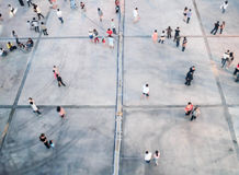 People blurred from top view,crowd of people bird eye view. For background use stock photography