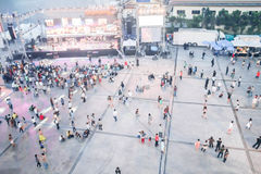 People blurred from top view,crowd of people bird eye view. People at concert blurred from top view,crowd of people bird eye view : for background use royalty free stock image