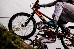 People on Bmx Bikes on Dirt Trail Royalty Free Stock Images