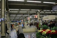 People board train at Osaka Hankyu Umeda Station Stock Photography
