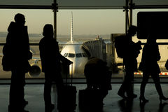 People boarding. To the airplane Stock Images