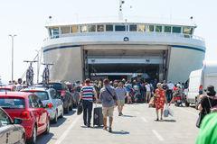 People boarding the ferry Royalty Free Stock Images