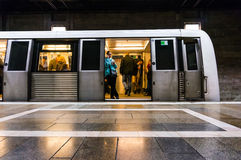 People boarding a metro train Royalty Free Stock Images