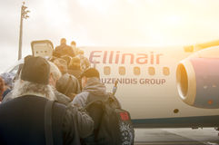 People boarding on the plane Royalty Free Stock Photos