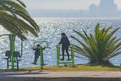 People at Boardwalk, Punta del Este, Uruguay Royalty Free Stock Photos
