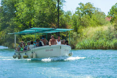People in boat going on the tour, Omis, Croatia Stock Photos