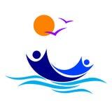 People boat logo. Illustration of people boat logo design isolated on white background royalty free illustration