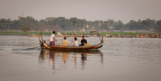 People on the boat in Mandalay, Myanmar Stock Photo