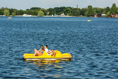 People Boat Ride On Herastrau Lake Royalty Free Stock Photos