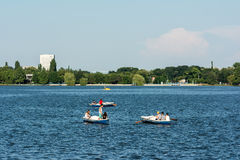 People Boat Ride On Herastrau Lake Stock Image